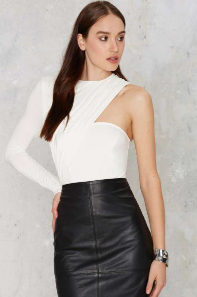 white one-piece bodysuit blouse with black leather skirt