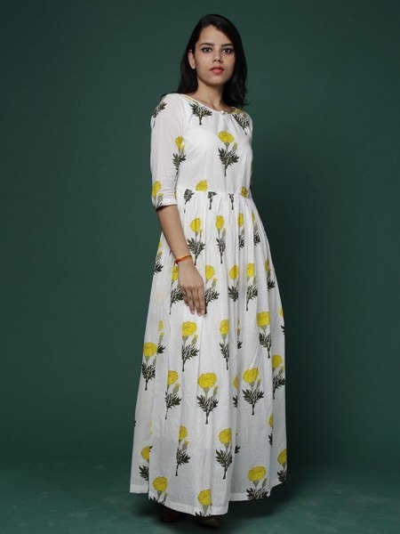 white floral printed halter maxi extended cotton dress