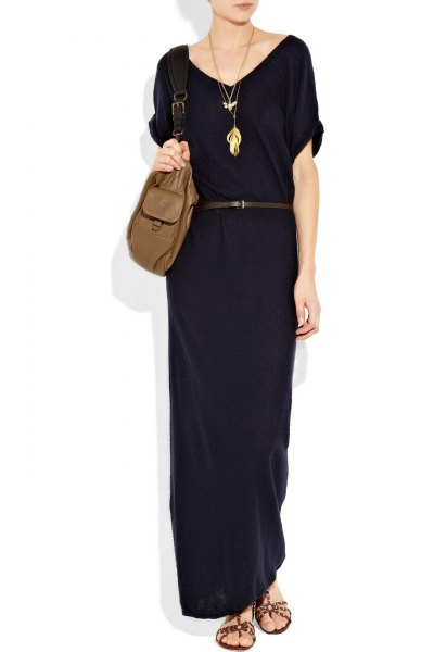 black short sleeve maxi belt made of cotton