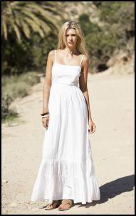 white spaghetti strap floor length windy dress