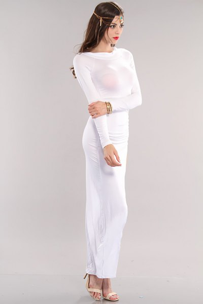 white long-sleeved form fitting maxi dress