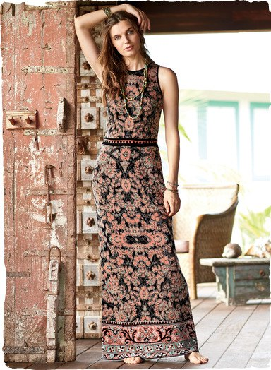 black and pink tribal printed mantle maxi dress