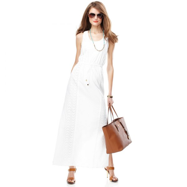 white gathered waist crochet maxi dress