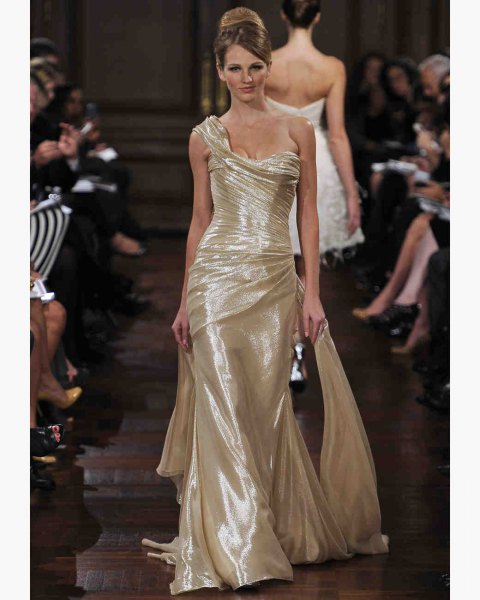 gold one shoulder floor length mermaid lamb dress