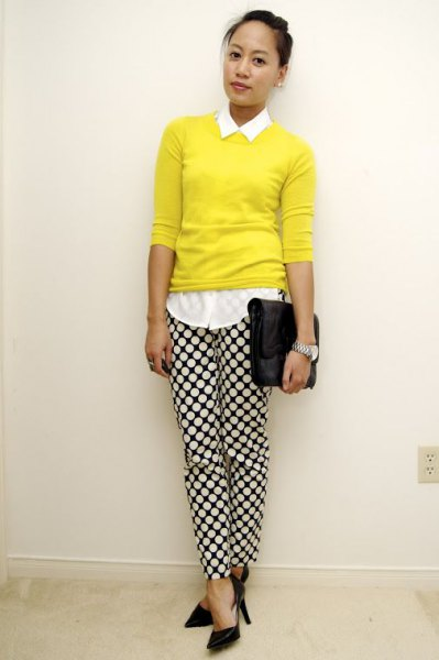 white button up shirt with yellow sweater and plaid trousers