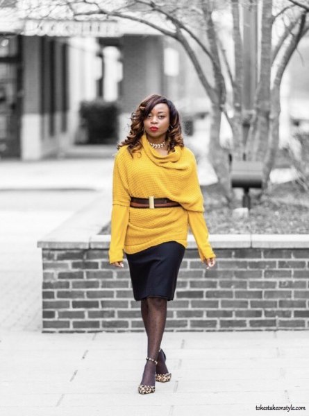 belt sweater with half sleeve over yellow sleeveless tee