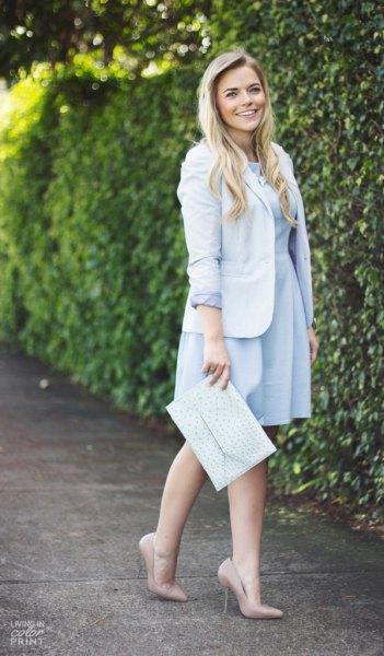 sky blue knee length pleated dress with light blue blazer