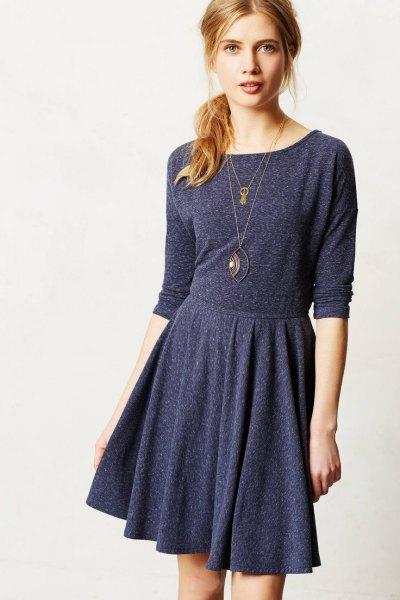 dark gray long-sleeved knee-length cotton skate casual dress