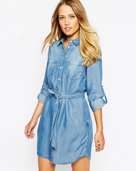 chambray long sleeve tie waist casual shirt dress