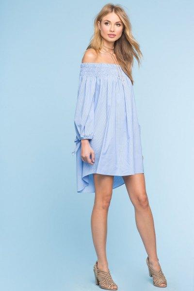 sky blue from shoulder long sleeve swing mini dress