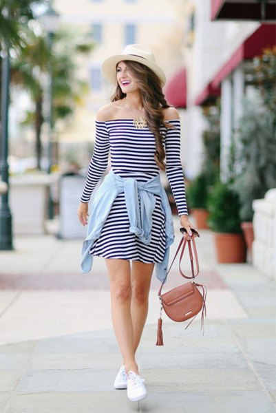 black and white striped off shoulder mini-skater dress