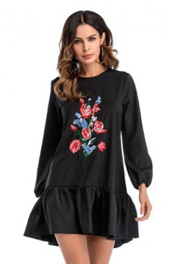 black floral embroidered casual sweatshirt dress