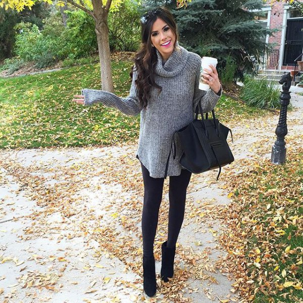gray cabbage neck long ribbed sweater with leggings and black short boots