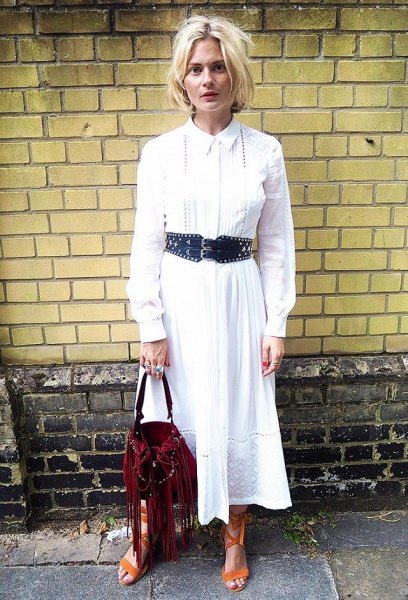 white maxi blown button up shirt dress with black belt