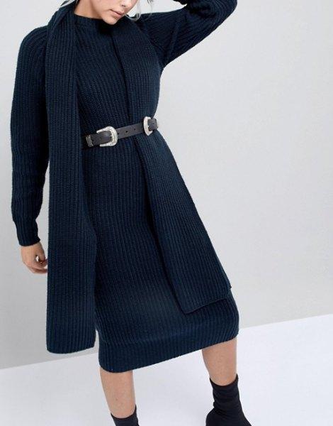 black ribbed sweater midi dress with cowboy belt