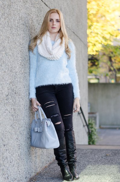 light blue teddy shirt with black ripped skinny jeans