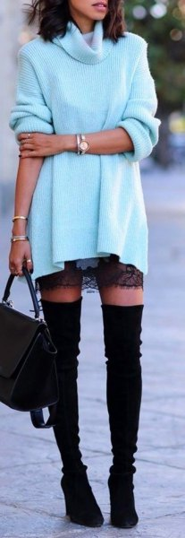 black lace mini skirt and high suede boots