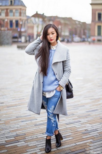gray wool long jacket with ribbed sweater and boyfriend jeans