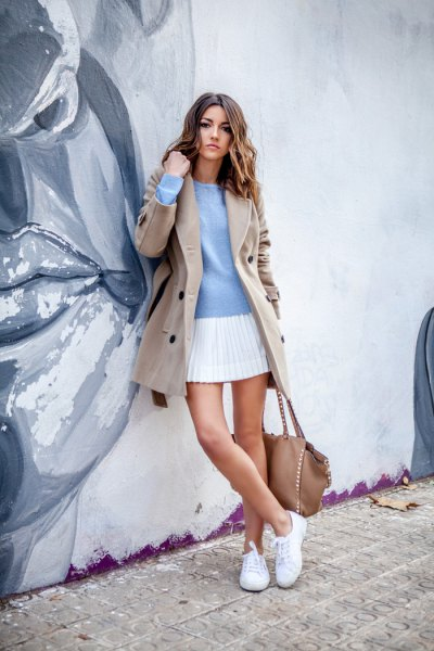 pink pink wool coat with light blue sweater and white mini pleated skirt
