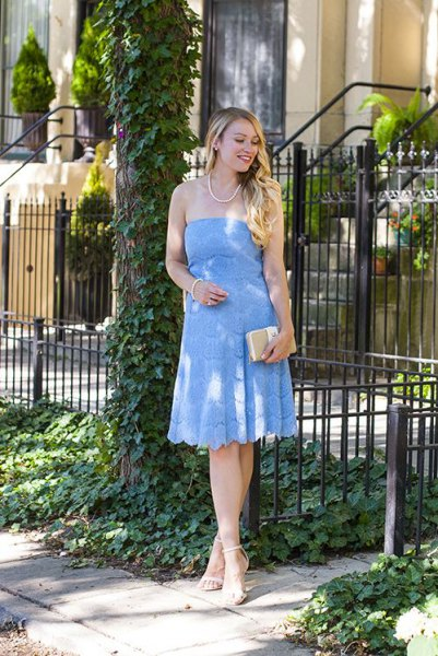 baby blue from the shoulder fit and flare lace midi dress