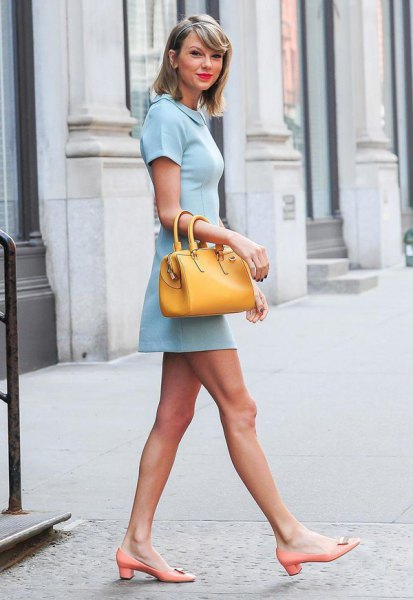 baby blue collar mini dress with mustard yellow handbag