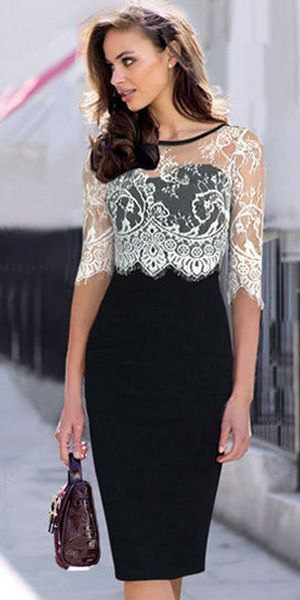 white half-heated lace top with black bodycon midi dress