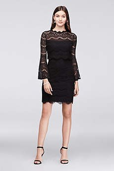 black lace watch sleeve mini cocktail dress
