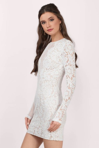white long sleeve lace mini dress