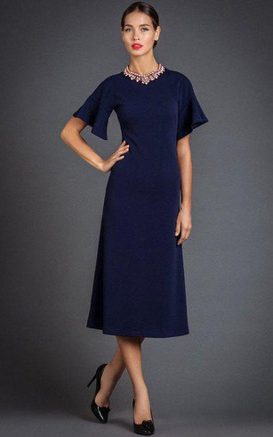 navy short sleeved midi flared dress
