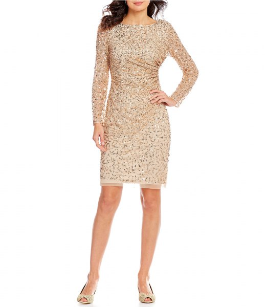 pink gold sequin long sleeve cocktail mini bodycon dress