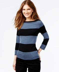 gray and black wide striped long sleeve top with skinny jeans
