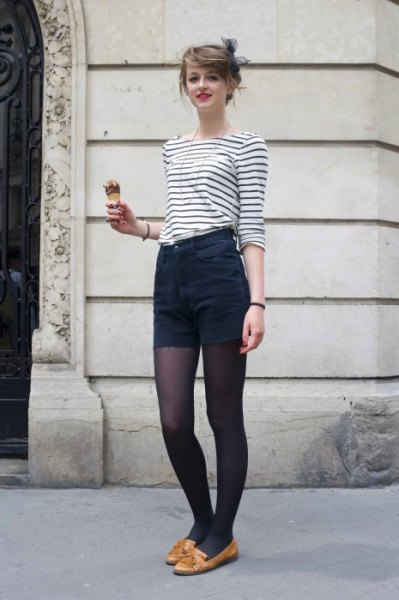 black and white striped boat neck tee with high rise mini shorts