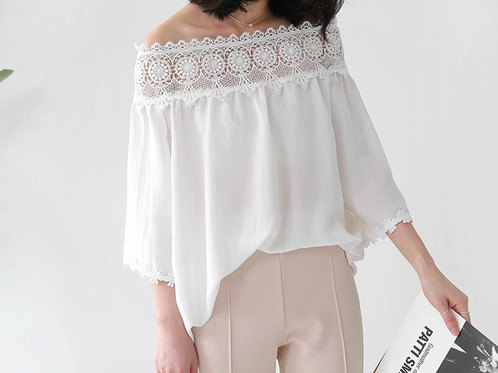 white lace blouse with boat neck with light pink pants