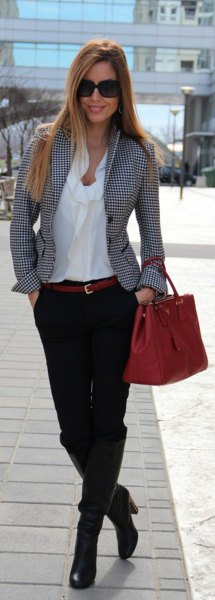 gray plaid tweed blazer and white cabbage blouse