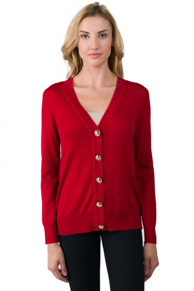 red v-neck cardigan with dark blue skinny jeans