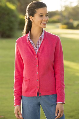 blush pink v-neck cardigan with checkered shirt