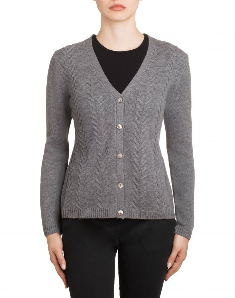 gray textured v-neck cardigan with black skinny jeans