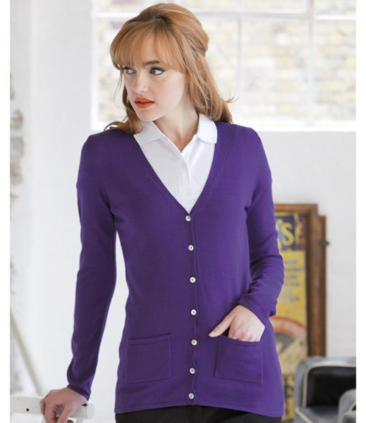 purple v-neck cardigan with white collar shirt