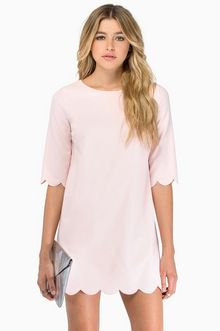 light pink combed hem and sleeve t-shirt dress