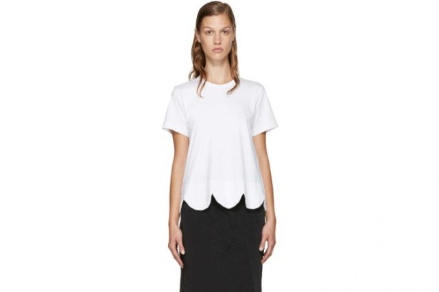 white peeled tee with black midi denim skirt