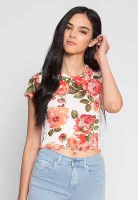 white and blush pink floral printed cropped t-shirt with light blue jeans