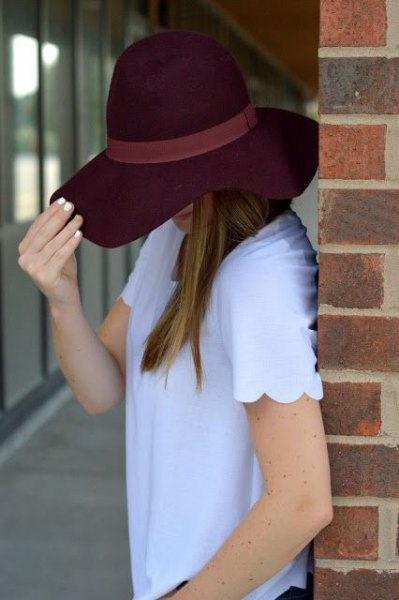 sky blue combed shirt with black floppy hat