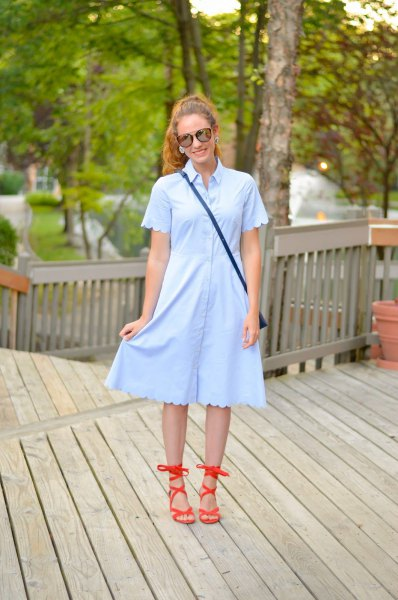 light blue peeled sleeve and dress at the bottom