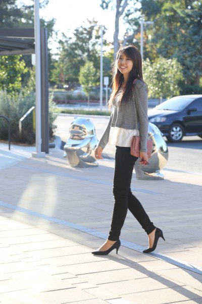 black ballet cat heels with black sweater in gray and white color