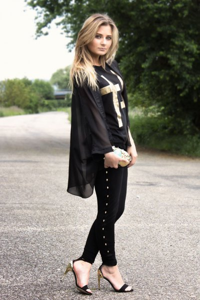 chiffon jacket with black and silver open toe kitten heel shoes