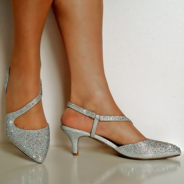 asymmetrical sequin heels in silver with blue cocktail dress