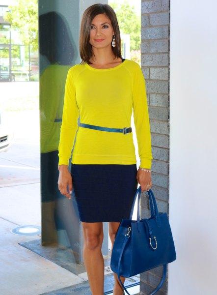 lemon yellow long sleeve t-shirt with blue narrow belt