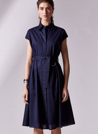 dark blue belt cap sleeve button up pleated midi dress