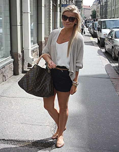 white camisole and gray cardigan