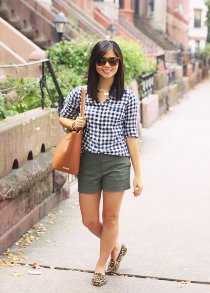 black and white checkered shirt with gray mini shorts